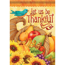"""New listing Thankful Bounty House Flag 28"""" x 40"""" Double sided Thanksgiving"""