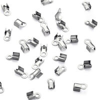 50pc 304 Stainless Steel Fold Over Crimp Cord Ends Endbead Jewerly Making 8x4mm