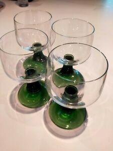 Set of 4 Vintage Luminarc Green Beehive Stem Wine Glasses 14.5cm Tall Pale Green