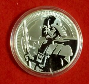 2019 DARTH VADER lightsaber .999 Fine SILVER 1oz. Niue $2 STAR WARS Coin