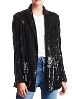 NWOT A.L.C BLACK QUINCY SEQUIN OPEN FRONT BLAZER JACKET SIZE: 12