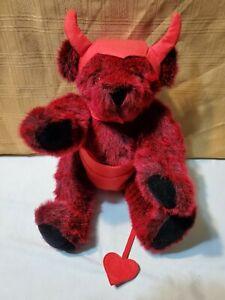 "Rare Vermont Teddy Bear Plush Poseable Devil Red fur Bear 16"""