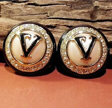 Vtg VALENTINO Logo Signed Gold Rhinestone Haute Couture Runway Clip-on Earrings