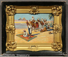 "20th Century Orientalist Oil Painting ""Lady and Egyptian Caravan"""