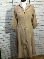 Vintage Cord Maxi Length Dress Beige Long Sleeves Size UK 10 / US 6