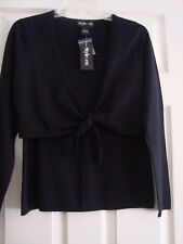 NWT Style & CO Women's Sweater LS Tie Front Black Silk Blend MED