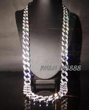 """New Mens Silver Iced Out Hip Hop CZ Rapper Cuban Link 14mm 30"""" Chain necklace"""