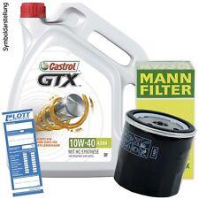 5L Castrol GTX 10W-40 Öl Motoröl + MANN Filter + Schraube für Citroen / Peugeot
