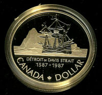 1987 Canadian $1.00 Proof Silver Dollar • 400th Anniversary of the Davis Strait
