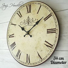 Large Vintage Shabby Chic Style French Cafe Wall Clock Kitchen Clock Cream 34cm