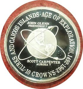 TURKS AND CAICOS 10 CROWNS 1975 SPACE EXPLORATION STERLING GEM PROOF ULTRA CAMEO