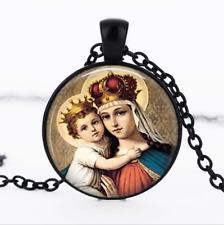 MADONNA and Child Black Glass Cabochon Necklace chain Pendant Wholesale