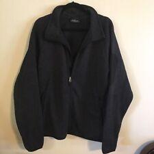 Man's FOSSA Long Sleeve Fleece Jacket FULL ZIP Large Dark Gray Side Pockets