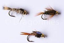 18 Gold Head Nymphs Trout Fly fishing Flies GRHE, Diawl Bach, Copper John