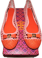 Tory Burch Ballerina Flats Carlyle Woven Leather  Pink Bow Ballet Shoe 9.5
