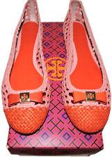 b4e124e39 Tory Burch Ballerina Flats Carlyle Woven Leather Pink Bow Ballet Shoe 9.5