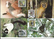 4 maxikaarten wwf 1988 Endangered species  Apen Lemur Madagascar