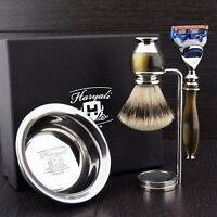 Men's Shaving Kit 4 Pieces With 5 Blade Razor In Simulated Horn