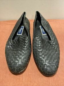 Men's Size 9 Bragano By Cole Haan Black Leather Woven Loafers