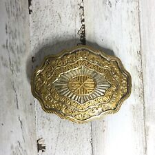 Vintage 80s Crumrine Jewelers Bronze Floral  Belt Buckle Western Cowboy