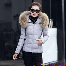 Fashion Women Down Cotton Winter Warm Fur Collar Jacket Casual Outwear Coat