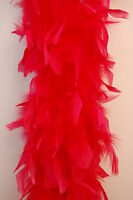 80 Gram CHANDELLE FEATHER BOA - BLOOD RED 2 Yards; Costumes/Halloween/Party/Art