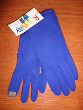 * Large L Womens Periwinkle RUNWAY echo Touch Screen Gloves I-phone Wool Blend