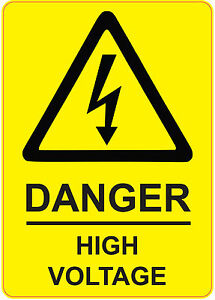DANGER HIGH VOLTAGE health and safety signs stickers YELLOW 205x290mm