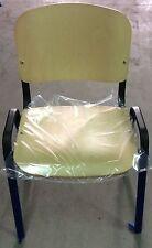 Sedia fissa per ufficio struttura metallo seduta e schienale legno di faggio