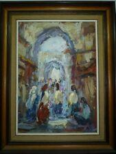 Listed Shmuel Lamm Oil Painting, Women in Jerusalem Old City Market, 50 x 35 cm
