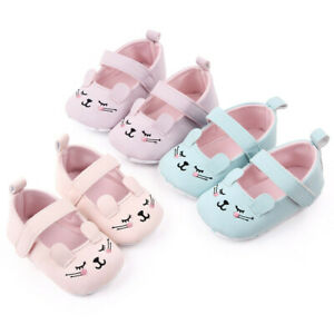 Newborn Kid Baby Girls Boys Solid Cartoon First Walkers Soft Sole Shoes Sneakers