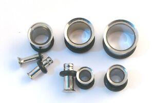 Flared Band Surgical Steel Flesh Tunnel Ear Plug flare Body Jewellery Lobe 2-50M