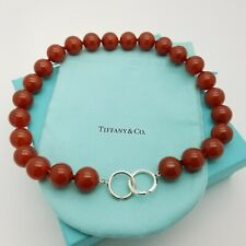Tiffany & Co Paloma Picasso Sterling Silver 16'mm Red Agate Bead Beaded Necklace