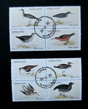 India/Nagaland-1972-Wadin g Birds set in Blocks of 4-Pre Cancelled-Mnh