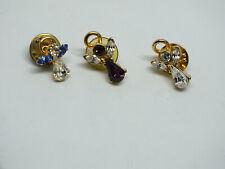 "Beautiful Brooch Pin Set 3 Angels Gold Tone Sparkling Rhinestones 3/4"" Cute"