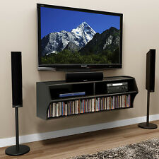 Wall Mount TV Stand Floating Wood Shelves  Media Console DVD VCD Black