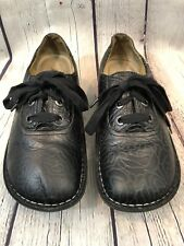 Alegria ABB-531 Black Embossed Leather Rose Floral Lace Up Shoes 39 US 9 Women's
