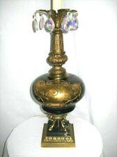 "RARE Vtg  ROCOCO LAMP Black Glass GOLD LEAF BLACK MARBLE Beautiful!  32/43"""