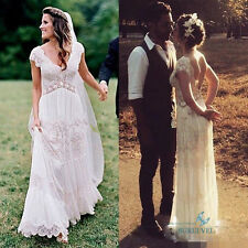 White Ivory Lace Vintage V Neck Wedding Dress Chiffon Backless Beach Bridal Gown