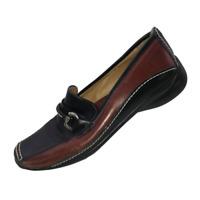 Sesto Meucci Women's Size 7.5 Black Brown Leather Slip On Shoes Square Toe Flats