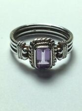 Sterling Silver Ring with Faceted Light Purple Amethyst Stone Size 6.5 USA Size