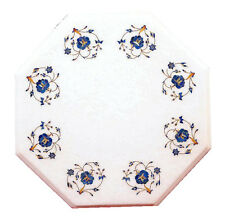 "12"" Marble Center End Table Top Rare Lapis Stone Mosaic Giving Tuesday Gift H634"