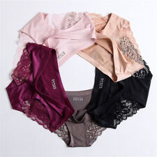 Sexy Women Lace Lingerie Briefs Seamless Panties Solid Ice Silk Underwear 5Color