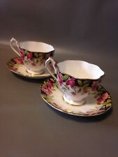 2x Art Deco Queen Anne Black Magic Gilt Tea Cups & Saucers Bone China Vintage