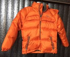 GOOSE DOWN USA YOUTH SMALL HOODED PUFFER SKI COAT JACKET QUILTED ORANGE ZIP FRNT