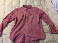 MENS NAUTICA LIGHT RED CHECKERED BUTTON UP FRONT SHIRT SIZE X-LARGE XL