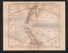 Landkarte map 1905: KARTE der Äquatorialzone des gestirnten Himmels zwischen 32°