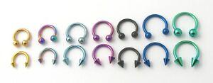 Anodised Horseshoe Bar Ring Hoop Nose Lip Ear Stud Tragus Helix Body Piercing