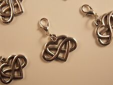 INFINITY ETERNITY HEART silver tone clip on dangle lobster clasp 3D charm