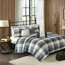 Country Farmhouse Rustic Grey Plaid Buffalo Check King 6 Piece Quilt Set
